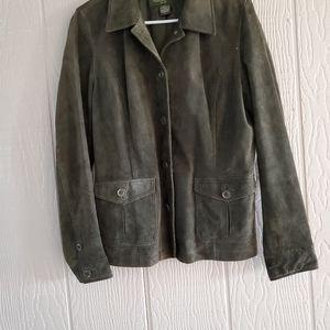 Eddie Bauer Seattle Suede Green leather jacket LG